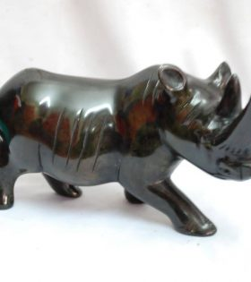 Black rhino sculpture