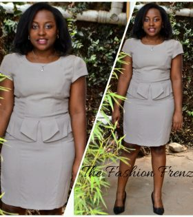 The Fashion Frenzy Grey Peplum Dress