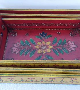 Handmade Wooden Tray Indian Paited Decor - Available in 3 sizes
