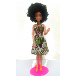 Swahili Princess doll in Green dress - Afro Hair