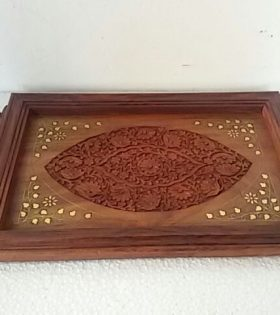 Handmade Wooden Tray with Brass and Curved Decor