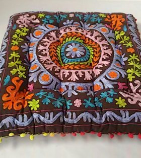 Indian Square Floor Cushion - Embroidery