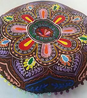 Indian Round Floor Cushion with Embroidery Finish