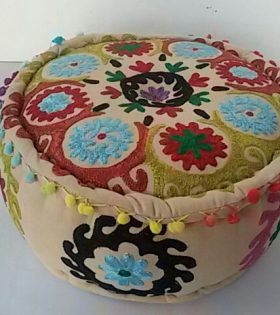 Indian Round Floor Puff with Embroidery