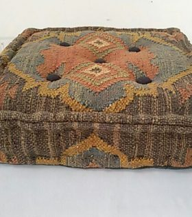Wool Jute Kilim Chair Pad - Cubic