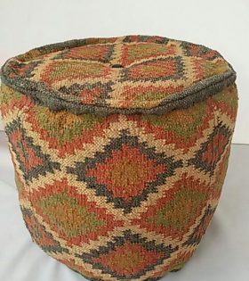 Wool Jute Kilim Floor Puff