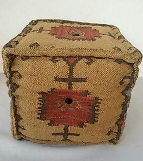 Wool Jute Kilim Square Puff