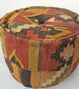 Wool Jute Kilim Round patch Puff