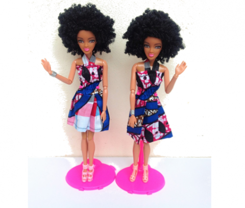 Swahili Princess doll in pink & Blue - Afro