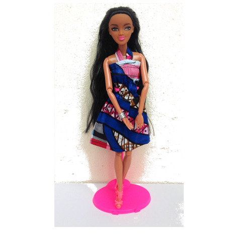 Straight haired doll in Blue Kitenge dress