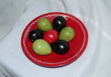 10-inch red bowl & assorted colored egg carvings decor