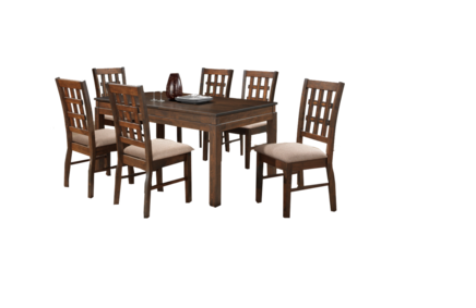 Toria - Six Seat and Table Dinning Set - Brown