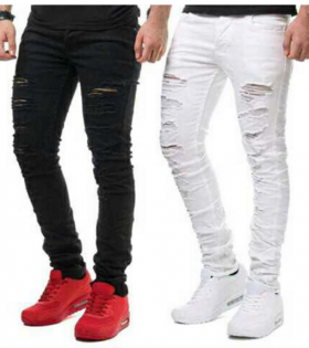 White and Black Rugged Jeans with Knee Zipper