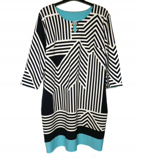 Arizona Navy/Aqua ZigZag Dress