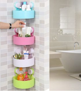 plastic bathroom shelf shampoo holder with suction cup