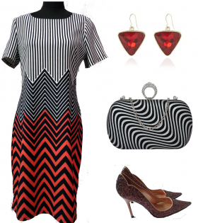 CMA Collection Black/Red Striped Dress