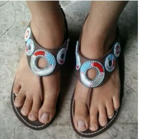 Big Round Blue Beaded Masaai Sandal
