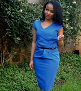 The Fashion Frenzy blue side draped official dress