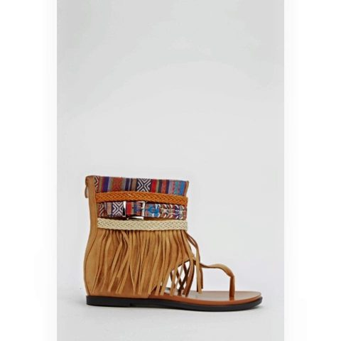 Fringed Aztec Thong Sandals