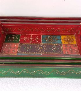 Handmade Wooden Tray Indian Painted Decor - Available in 3 sizes