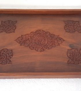 Handmade Wooden Tray with Curved Decor