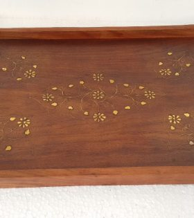 Handmade Wooden Tray with Brass Decor