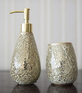 Soap dispenser & toothbrush holder in ceramic