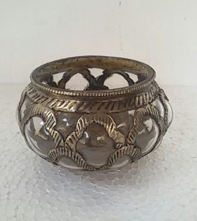 Clear Candle Bowl with Metal Finish